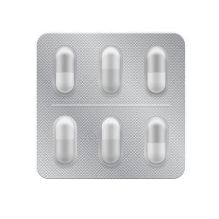 캡슐과 3d 물집입니다. 병 및 통증 치료를위한 의약품 약제 : 진통제, 비타민, 항생제, 아스피린. 현실적인 모의 알 약 포장입니다. 벡터 패키지 일러스