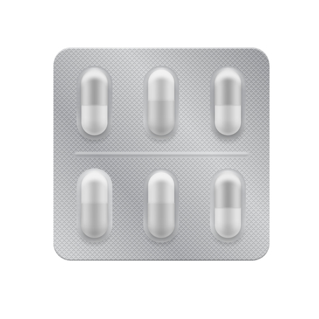 3d blister with capsules. Medical drug tablet for illness and pain treatment: painkiller, vitamin, antibiotic, aspirin. Realistic mock-up of pills packaging. Vector package illustration