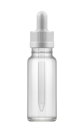 glass bottle with dropper.