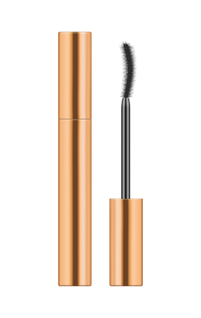 Realistic gold metallic tube with mascara and brush. 3d package. Container of cosmetic product for eye beauty. Vector illustration isolated on white background.