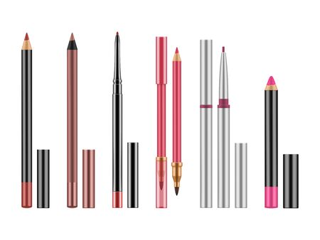 Collection of colorful lip liners. Illustration