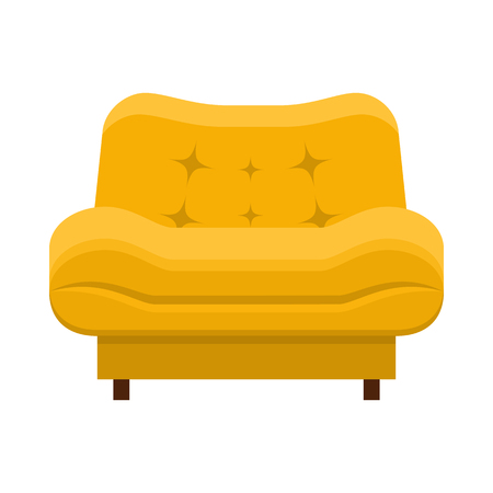 Yellow chair in flat style.