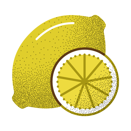 Tea icon retro texture. Lemon. Fresh citrus fruit. Black and white logo. Vector illustration isolated on white background. Vintage design.