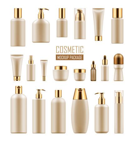 リアルな高級化粧品パッケージのセットです。金色のキャップをプラスチック容器の空空のテンプレートのコレクション: 液体、スキンケア クリー
