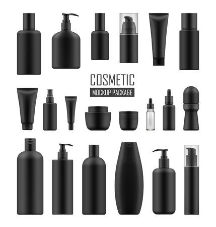Paquetes negros para cosméticos de lujo Ilustración de vector