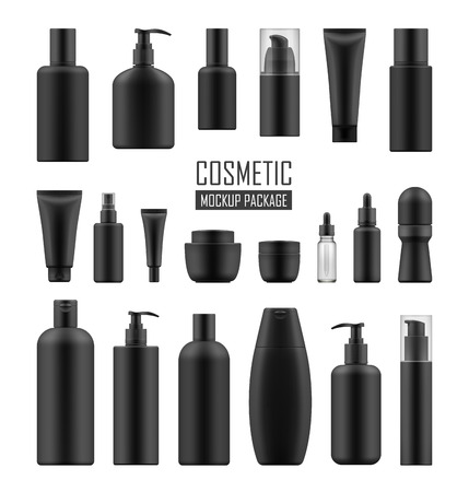 Black packages for luxury cosmetic Stock Illustratie