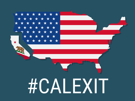 controversy: Hashtag Calexit on USA flag. Illustration