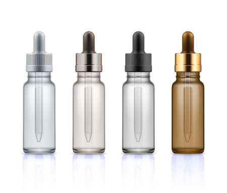 Cosmetic glass bottles with dropper.