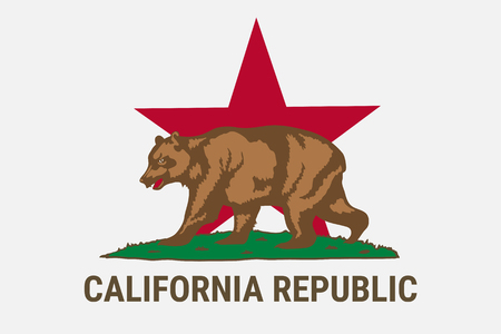 State flag of California republic with brown bear Vector Illustration