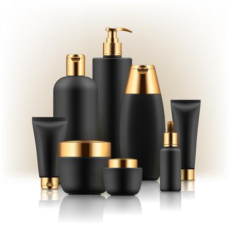黒と金色の化粧品容器。