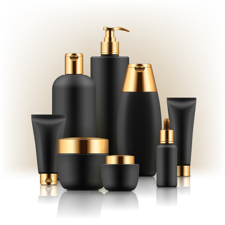 Black and golden cosmetic containers: Vettoriali