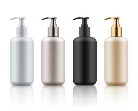 Plastic bottles with pump dispenser.