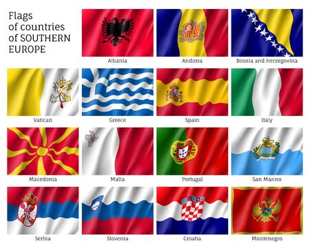 Banderas de los países del sur de Europa Foto de archivo - 76748829