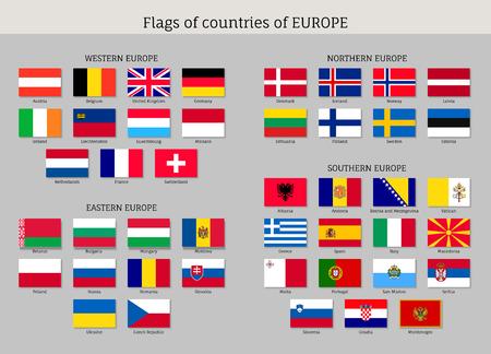ヨーロッパの国旗のセット。