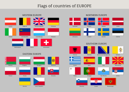 Set of national European flags.
