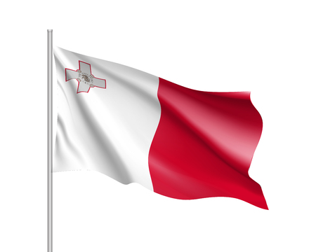 National flag of Malta republic.