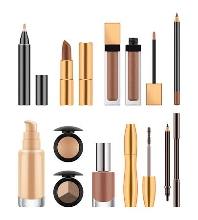 Ensemble de cosmétiques, illustration vectorielle réaliste