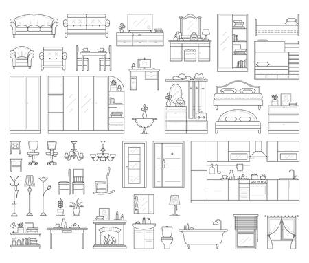 closet door: Set of house interior furniture.