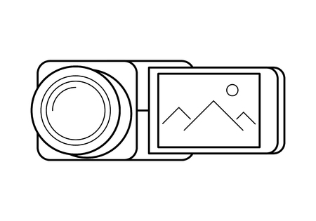 Video camera line art, simple gadget icon for web application, outline vector pictogram isolated on a white background, professional video production picture Illustration