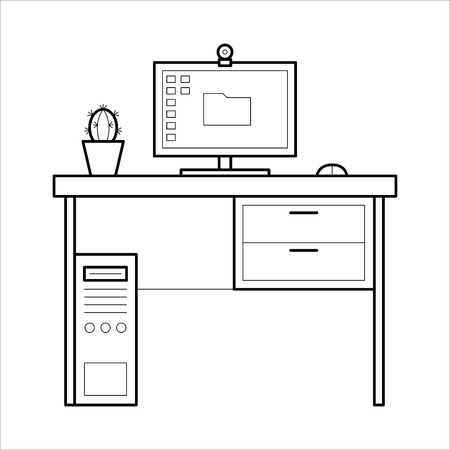 Computer desk - thin line style.