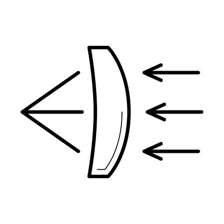 Réfraction de la lumière à travers une icône de lentille de verre, illustration vectorielle Banque d'images - 77251418