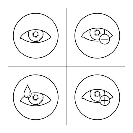 myopia: Symbols of myopia and hyperopia. Illustration