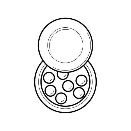 meteorites: Face powder pearls icon Illustration