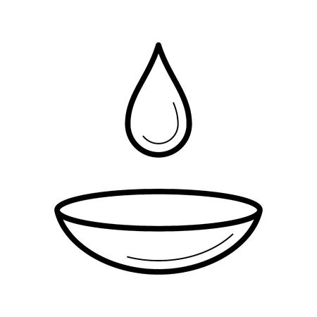 Contact lens with a moist drop icon, vector illustration