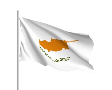 키프로스 공화국의 깃발을 흔들며 일러스트
