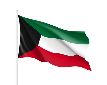 Waving flag of Kuwait Illustration