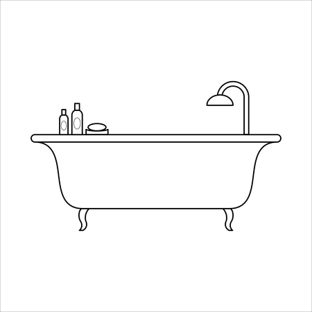 Freestanding bath, home furniture lineart design, interior concept