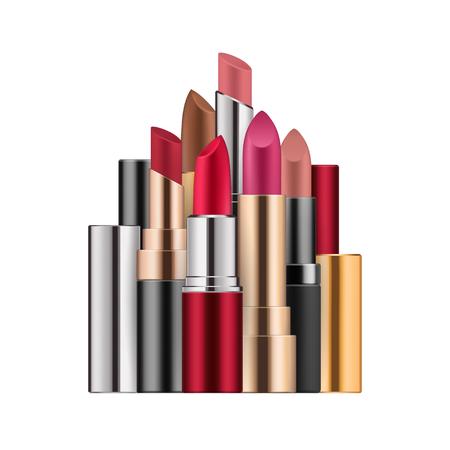 Lipstick set in different colors, open case Illustration