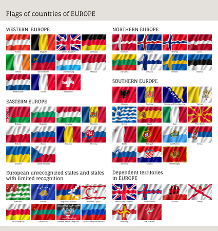 Flags of countries of Western, Northern, Easter, Southern Europe, big set, full collection wind waving fabric, chart of national emblems.