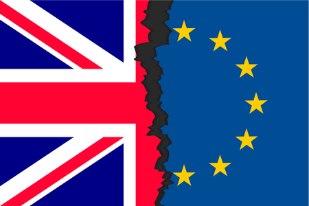 The United Kingdoms withdrawal from the European Union, British exit decision, two parts of flags, historic referendum result. Vector flat style illustration Illustration