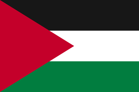Flag of Palestine - partially recognised state. Patriotic palestinian national sign. Symbol of de jure sovereign state in the Middle East. Vector icon illustration