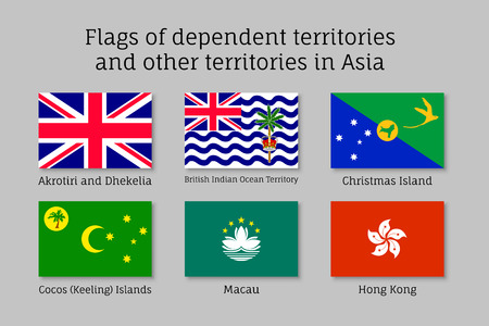 Set of flat flags of dependent territories in Asia: Akrotiri and Dhekelia, British Indian Ocean Territory, Christman and Keeling Islands, Macau, Hong Kong. Collection with 6 signs. Vector isolated