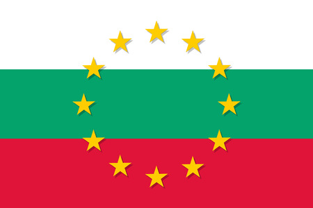 Bulgaria national flag with a circle of European Union twelve gold stars, symbol of unity with EU, member since 1 January 2007. Vector flat style illustration Illustration