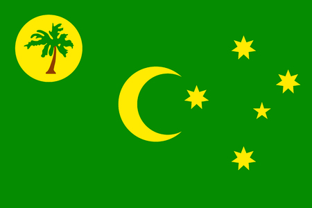 Vector national flag of Cocos (Keeling) Islands. Patriotic sign in official country color and moon, star and palm. Special Administrative External Territory of Australia. Vector icon illustration