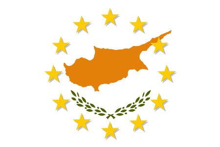 Cyprus national flag with a circle of EU.