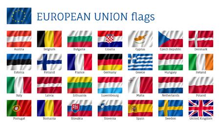 Golvende vlaggen van de Europese Unie