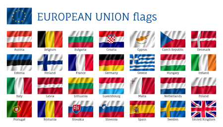 Waving flags of European Union
