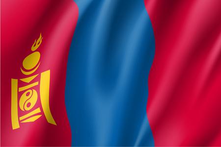 De vlag van Mongolië, vector vlakke stijl