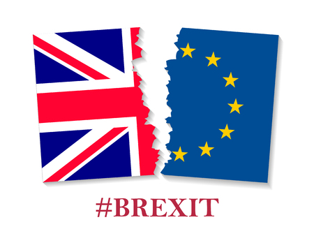Brexit hashtag two parts of flags Illustration