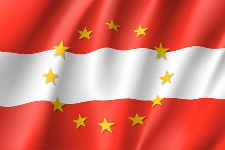 Austria national flag with a circle of EU