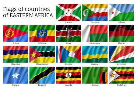 Waving flags of East Africa. Illustration