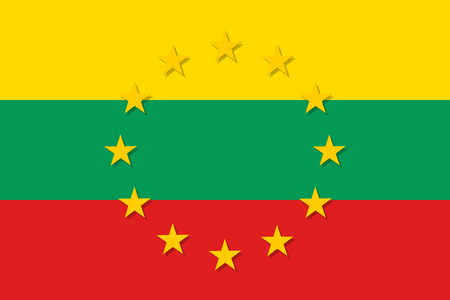 european culture: Lithuania national flag with a star circle of EU.