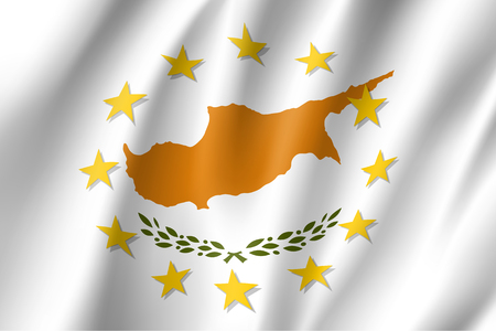 Cyprus national flag with a circle of EU Illustration