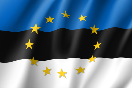 stability: Estonia national flag with a star circle of EU Illustration