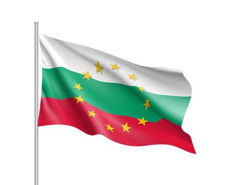Bulgaria national flag with a circle of EU. Illustration