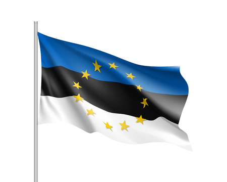 european culture: Estonia national flag with a star circle of EU Illustration